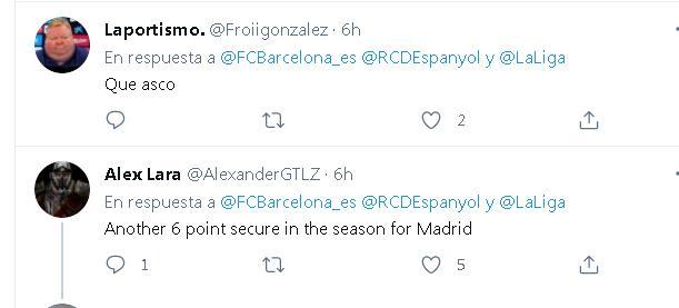 西班牙人重返西甲却遭巴萨球迷调侃:皇马拿到6分了