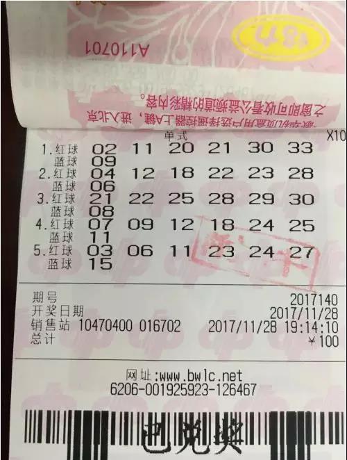 双色球6035万已被兑走 奖票为5注单式号10倍投