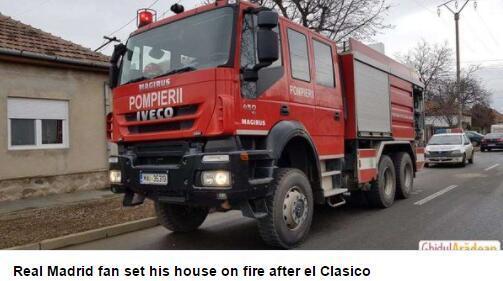 一位老球迷在皇马输球后烧了自己的房子