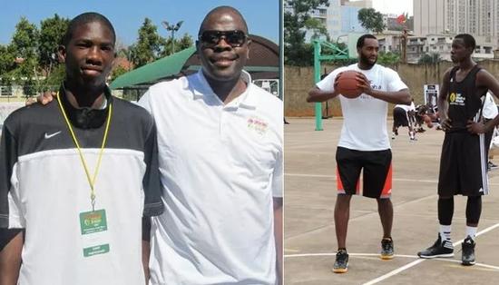 恩比德(左图左1)在17岁时才通过姆巴-阿-穆泰(右图左1)的篮球无疆界训练营第一次接触正规篮球。