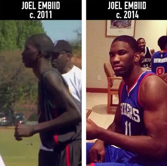 恩比德在instagram上晒出17岁时的对比照片,那时他刚刚开始学打篮球。