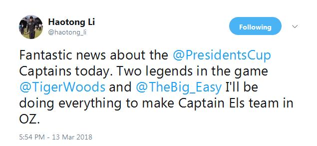 李昊桐祝贺伍兹埃尔斯当队长 力争入围总统杯亚洲队