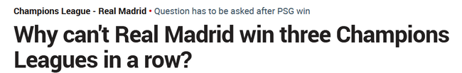 《马卡报》:皇马为什么不能欧冠三连冠?
