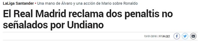 《马卡报》:皇马被漏判两粒点球