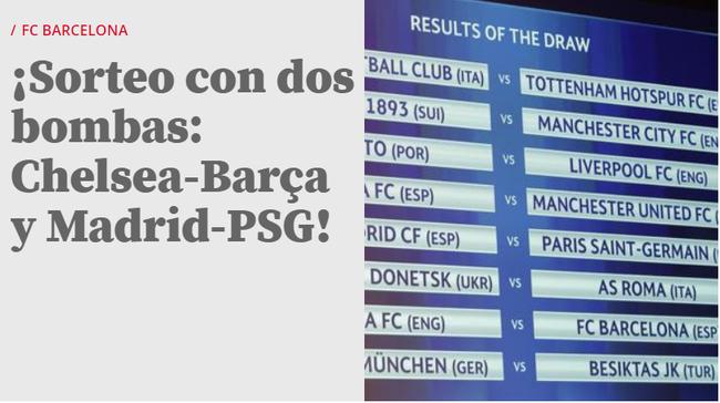 《世界体育报》:这抽签结果真是炸穿了