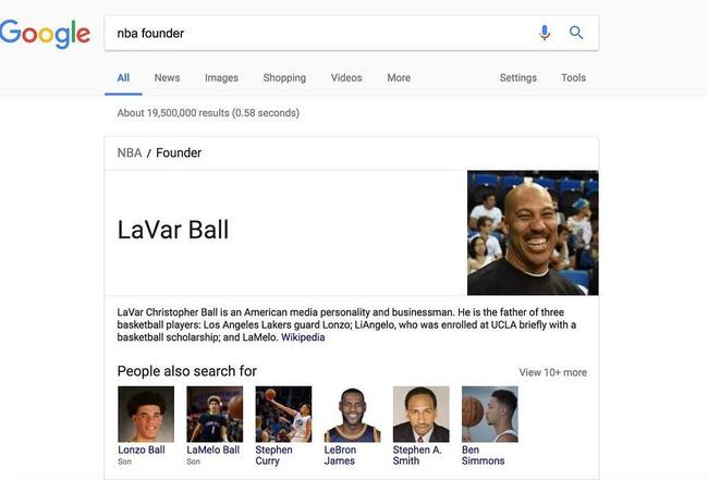 球爹是NBA创始人?谷歌神操作让全球网友看呆