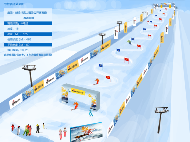 双板滑雪赛道效果图