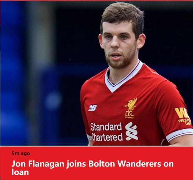 利物浦官网截图:利物浦将弗拉纳甘租借至博尔顿