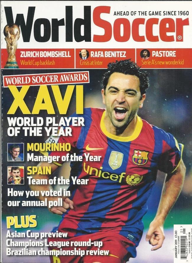 哈维是2010年《世界足球》杂志的年度最佳球员