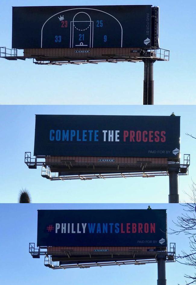 费城一家公司对詹姆斯进行招揽打出的广告牌