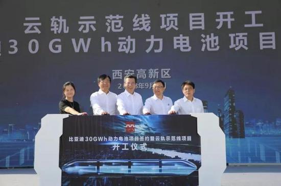 云轨示范线项目开工暨比亚迪30GWh动力电池项目