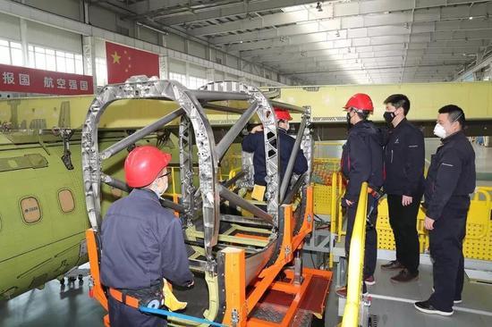 西飞民机新舟700科研现场如期复工