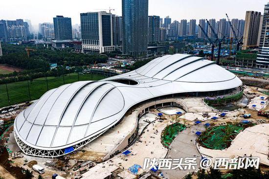 陕西奥体中心体育馆近期航拍图