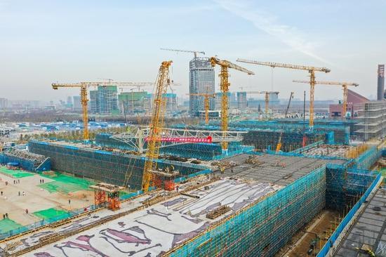 又迎新进展!西安国际会展中心二期全面进入钢结构施工阶段