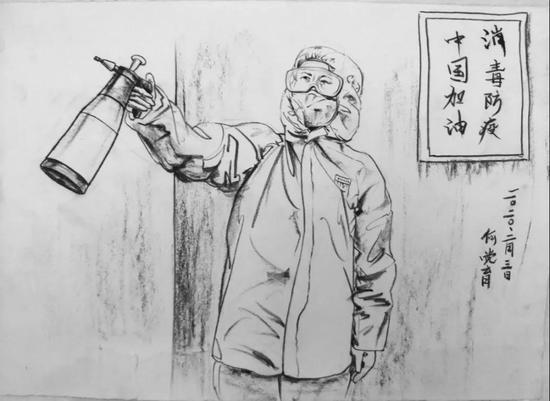防疫宣传画手绘图片