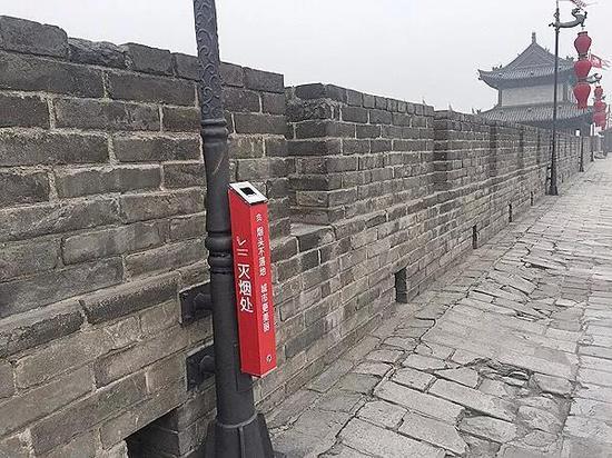 西安明城墙上设立的灭烟处。资料图
