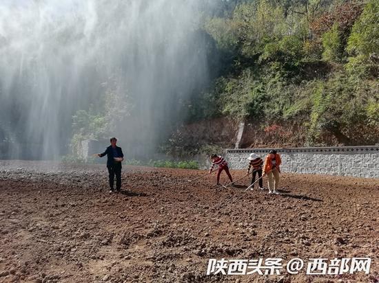 南五台山景区内几名工人正在进行复绿工作。