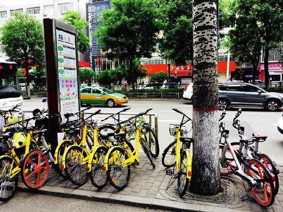 """西安市小寨一处公交站台被共享单车""""占领""""。资料图"""