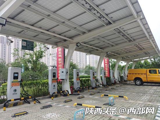▲陕西省第一座光储能充电站。
