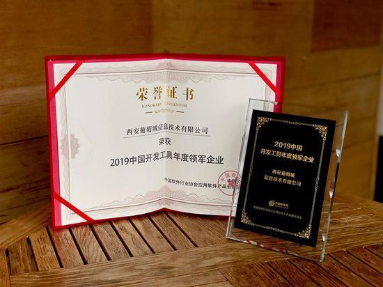 """西安葡萄城荣获""""2019中国开发工具领域年度领军企业""""称号"""