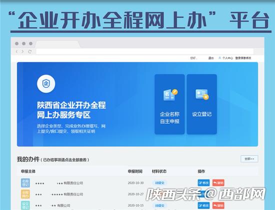 陕西省企业开办全程网上办服务平台2.0版上线运行。
