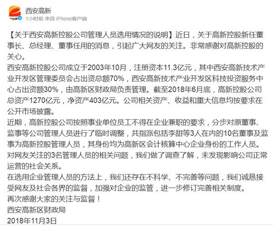 关于西安高新控股公司管理人员选用情况的说明: