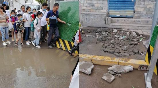 该施工围挡处随地排放污水。