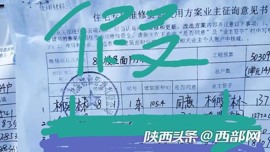网友发帖反映,宝鸡雨虹馨园小区业委会伪造业主签名。