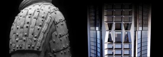 大厦外立面幕墙采用兵马俑铠甲的竖向线条及凹槽植入