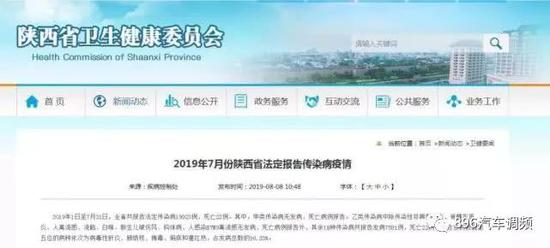 陕西省2019年7月法定报告传染病疫情