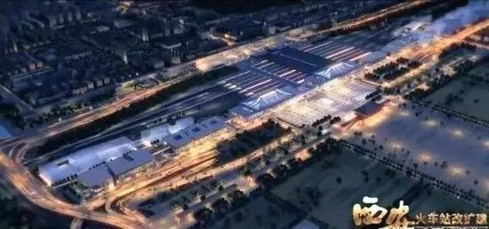 改扩建火车站夜景鸟瞰图