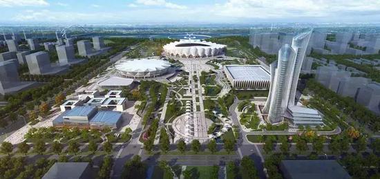 第十四届西安全运会主场馆效果图鸟瞰