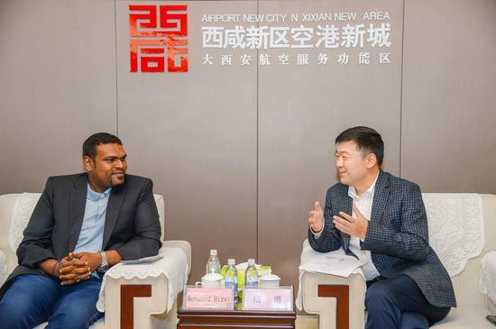 西咸新区空港新城党委委员、管委会副主任杨博与马尔代夫航空总裁默罕默德·雷士维会晤
