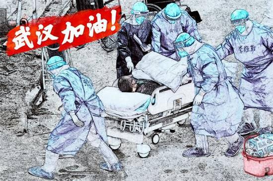 """大学生原创绘画向疫情之下的""""逆行者""""致敬"""