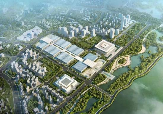 ▲西安丝路国际会议中心(右)与西安丝路国际展览中心(左)