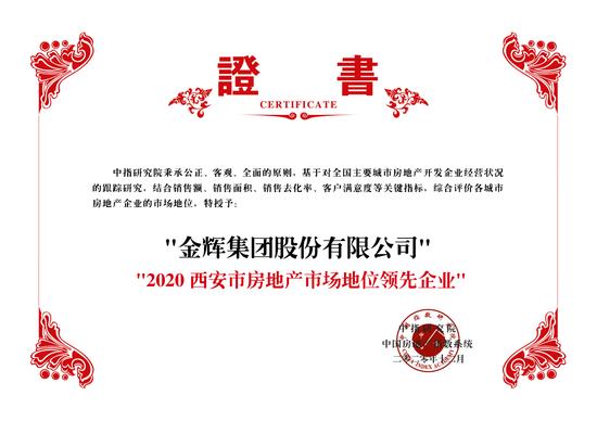 """金辉荣获""""2020西安市房地产市场地位领先企业""""称号"""