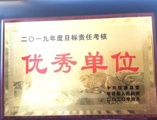 农行绥德县支行荣获2019年度目标责任考核优秀单位
