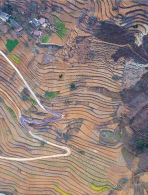 无人机航拍商洛万亩梯田 画面壮观