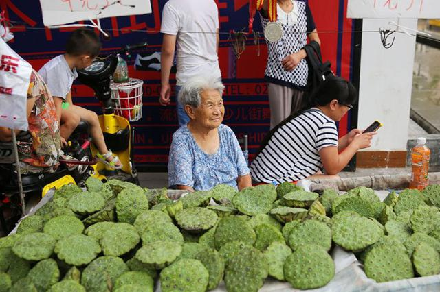 西安90岁老人天天出摊卖莲蓬 挣钱贴补三个儿子