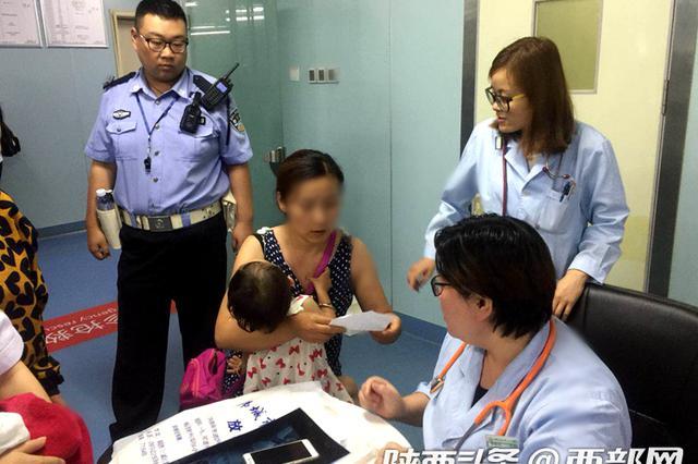 韩城4岁女童吞下硬币 西安交警提前接应紧急送医