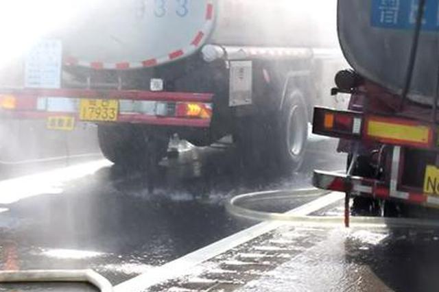 汉中:汽油罐车行驶中轮胎起火 扑救及时有惊无险