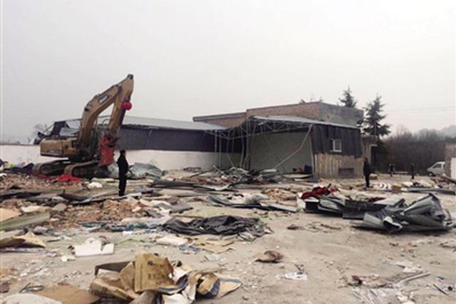 三兆村5000平方米违建厂房 用时4天拆除干净
