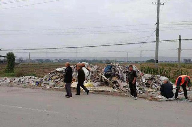 108国道改建工程咸阳段多县区被倒建筑垃圾 施工方报警
