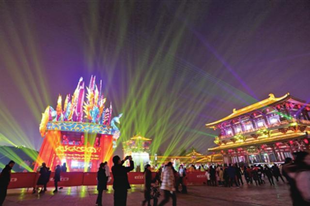 曲江新区小年夜盛装点亮中国年 西安城墙披上科技新装