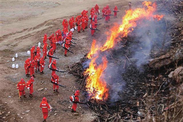 陕西省举行森林火灾扑救演练 共设七个科目