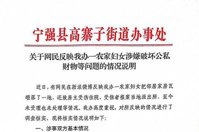 """宁强通报""""一农家妇女砸落邻居家房瓦"""":因空地权属问题产生"""