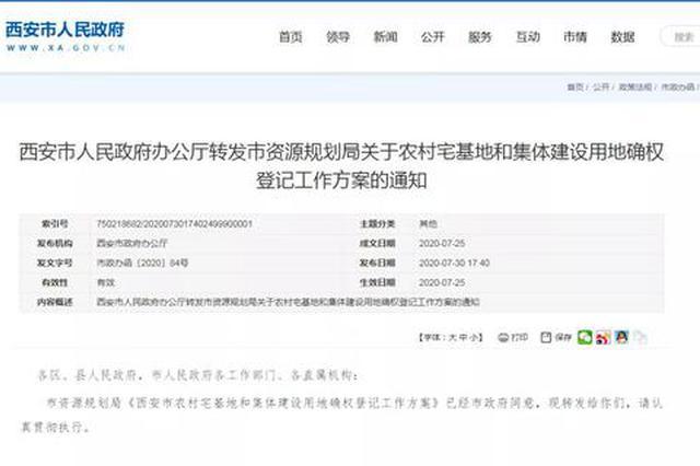 西安市严禁通过登记将农村违法用地合法化