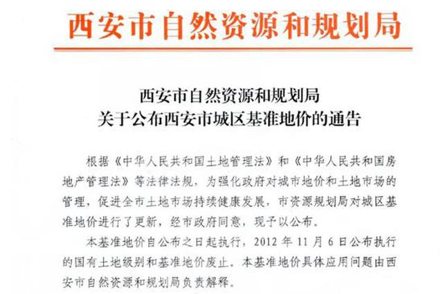 西安正式发布基准楼面地价 高新曲江4650元/平方米最贵