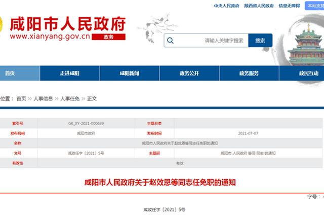 咸陽市政府發布一批人事任免 文濤任咸陽市公路局局長