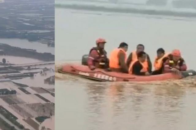 陕西大荔赵渡镇部分村庄被淹 救援队:正在转移村民,急需水泵和皮艇
